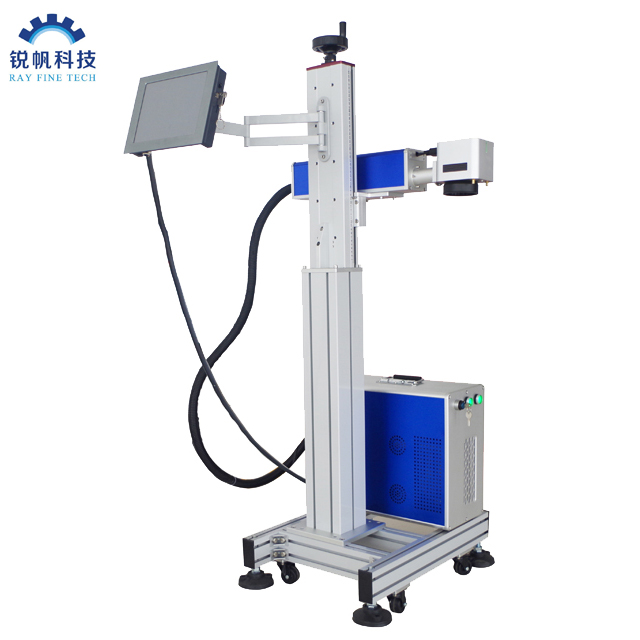 High Speed Produciton Line Flying Fiber Laser Marking Machine 20w 30w 50w